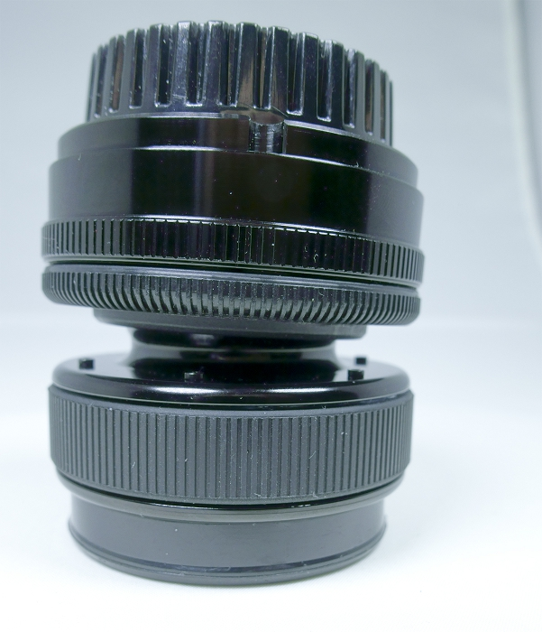 "Looking at the Lensbaby Composer Pro ""double glass"" optic upright, showing the elements of the optic"