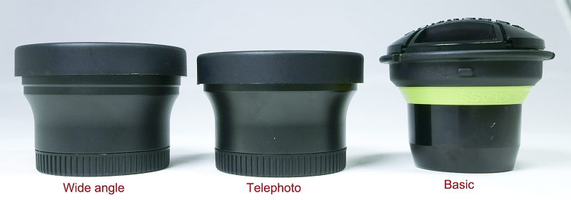 The three slot-in optics for the original Lensbaby