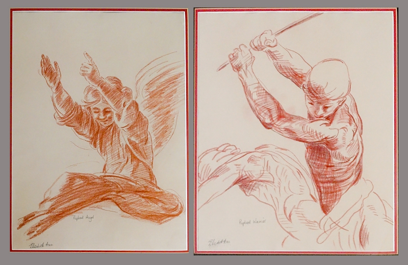 Conte Crayon copies of two Raphael sketches