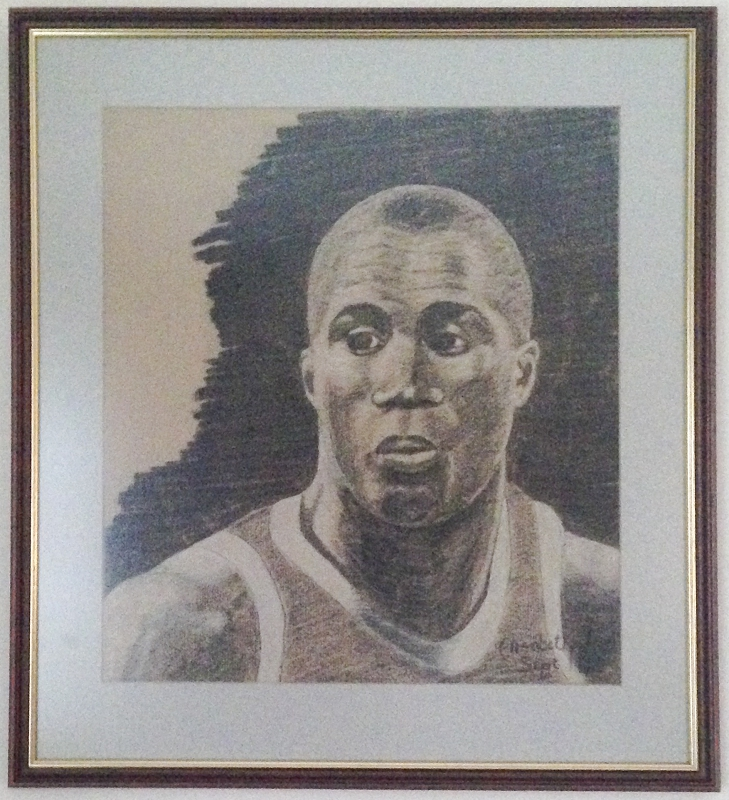 """Magic"" Johnson. Charcoal and pastel on brown paper. 1992"