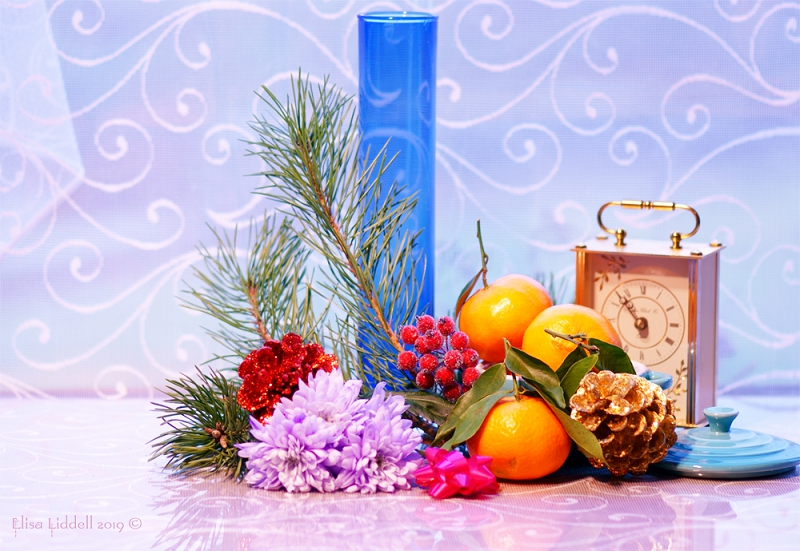 A colourful festive still life composition