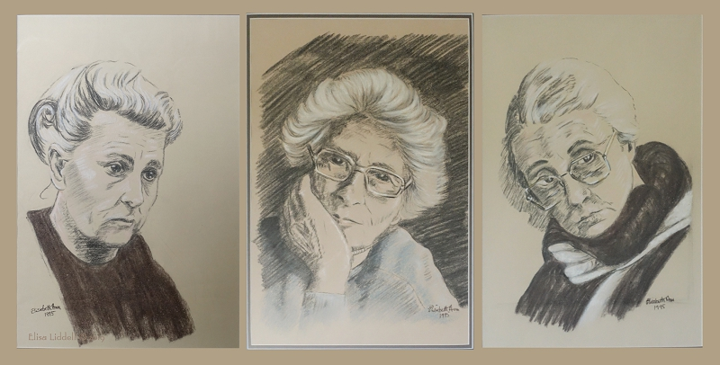 Three portrait heads in charcoal and pastel