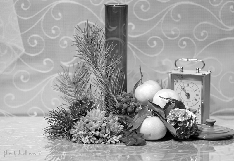 The colourful festive still life composition in B+W