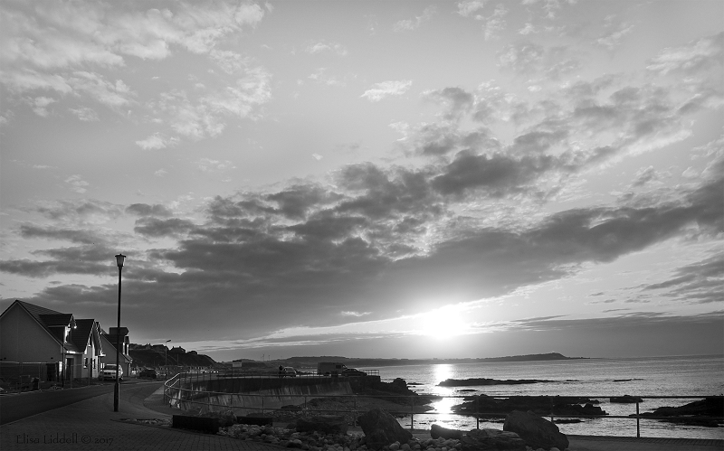 Sunset Banff Bay in B+W Aberdeenshire Scotland
