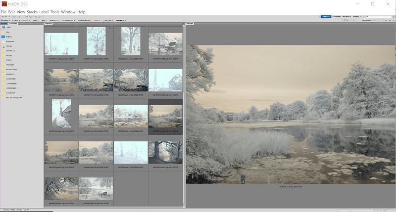 Photoshop Bridge showing Infrared shots