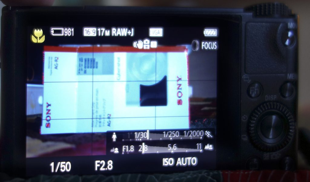 Sony RX100 showing peaking areas in red