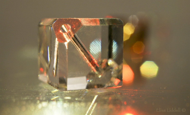 Glass cube bead bokeh